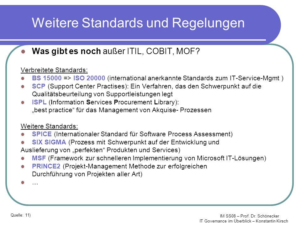 Weitere Standards und Regelungen