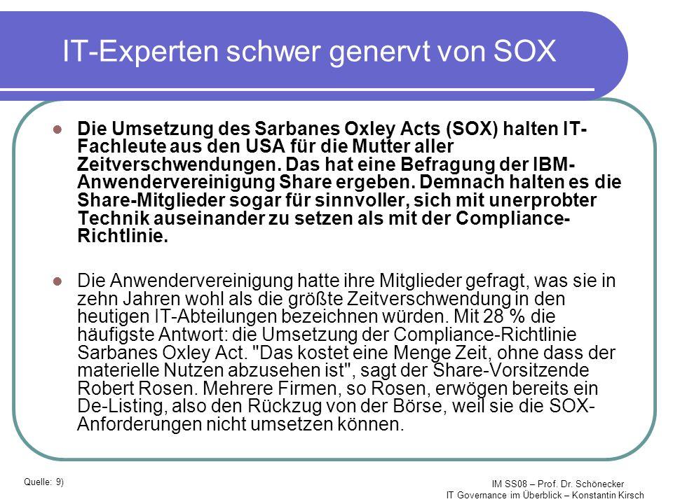 IT-Experten schwer genervt von SOX