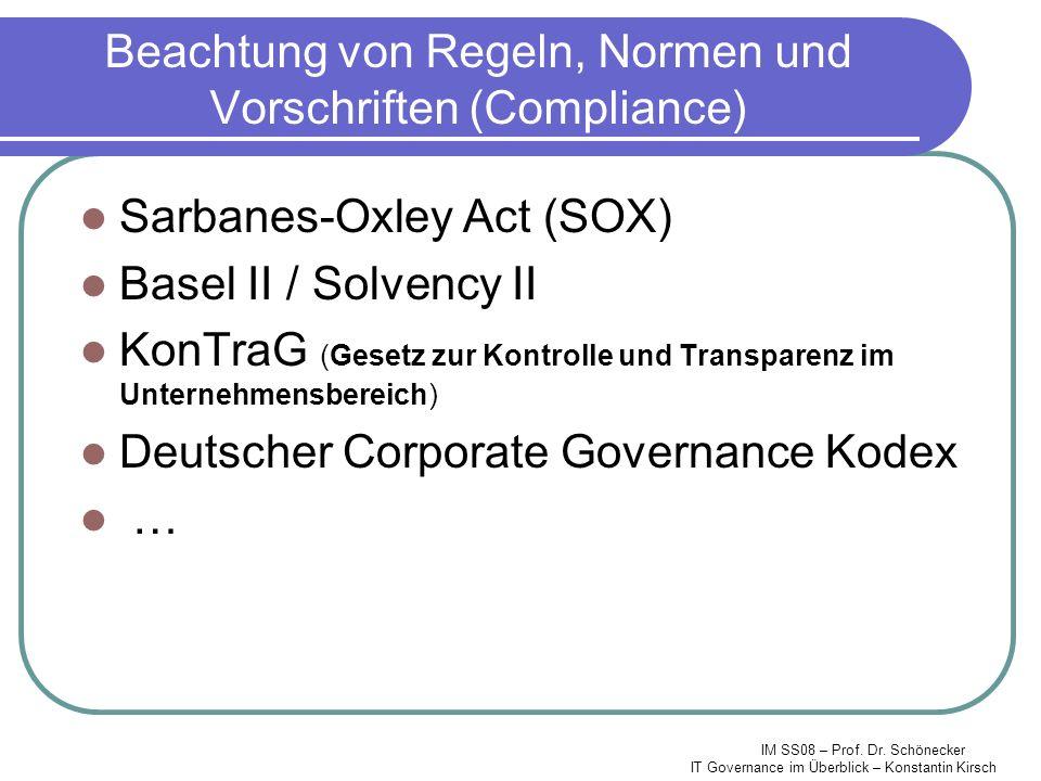 Beachtung von Regeln, Normen und Vorschriften (Compliance)