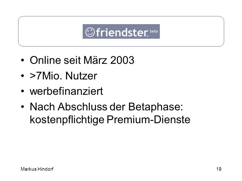 Friendster Online seit März 2003 >7Mio. Nutzer werbefinanziert
