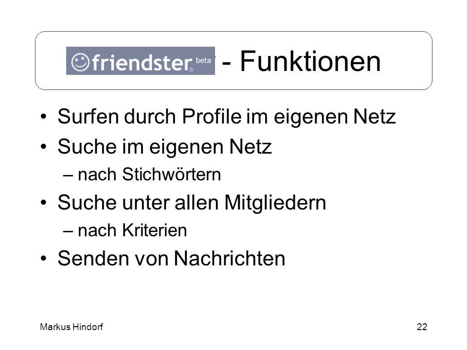 Friendster - Funktionen