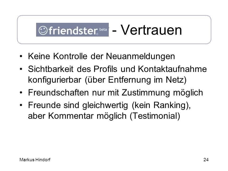 Friendster - Vertrauen