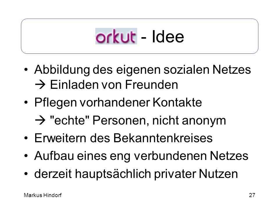 Orkut - IdeeAbbildung des eigenen sozialen Netzes  Einladen von Freunden. Pflegen vorhandener Kontakte.