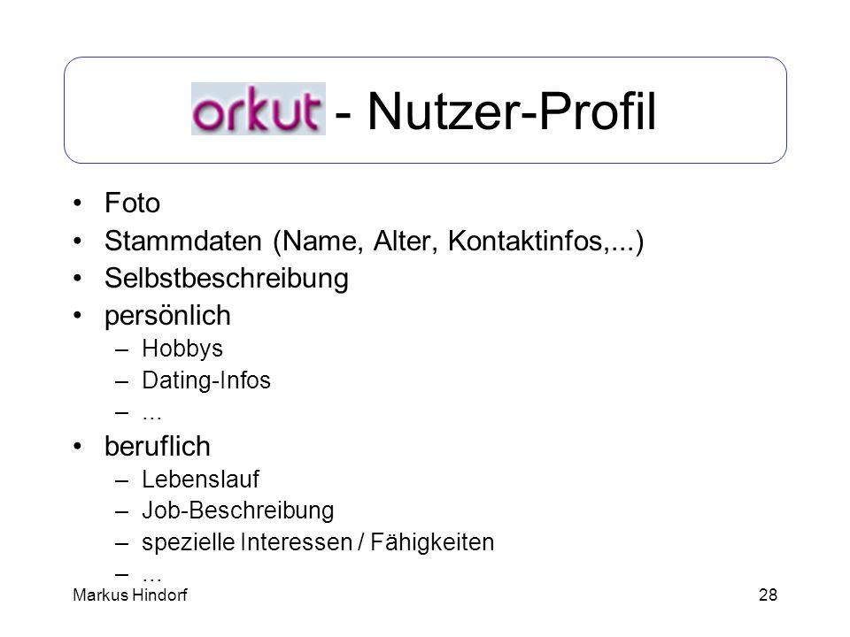 Orkut - Nutzer-Profil Foto Stammdaten (Name, Alter, Kontaktinfos,...)