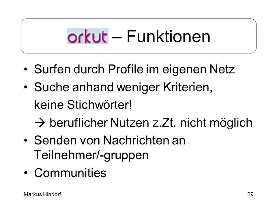 Orkut – Funktionen Surfen durch Profile im eigenen Netz