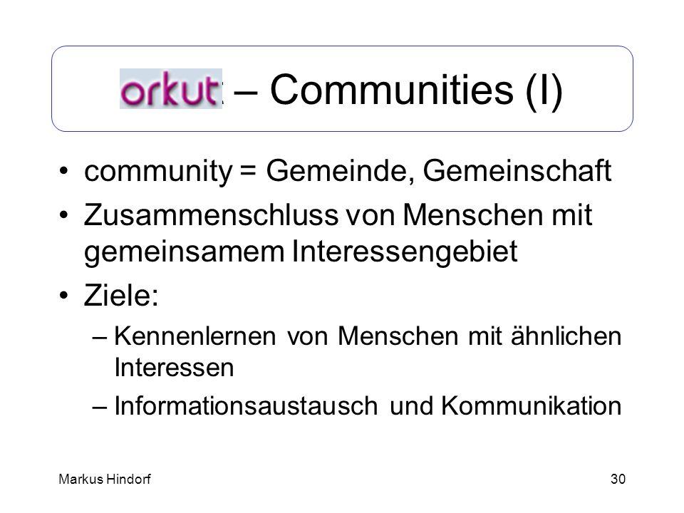 Orkut – Communities (I)
