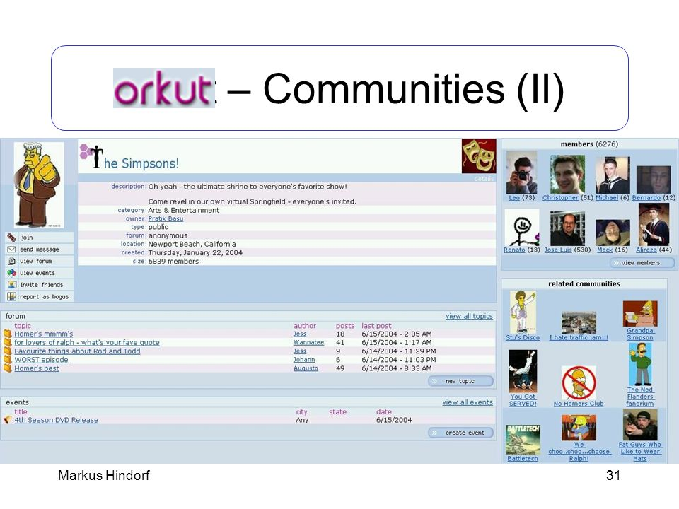 Orkut – Communities (II)