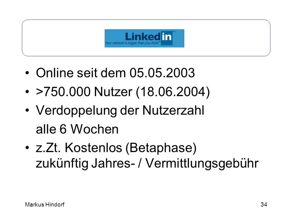 LinkedIn Online seit dem 05.05.2003 >750.000 Nutzer (18.06.2004)