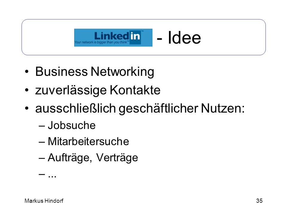 LinkedIn - Idee Business Networking zuverlässige Kontakte