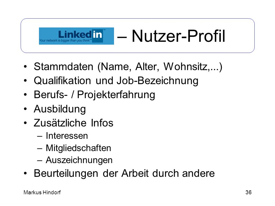 LinkedIn – Nutzer-Profil