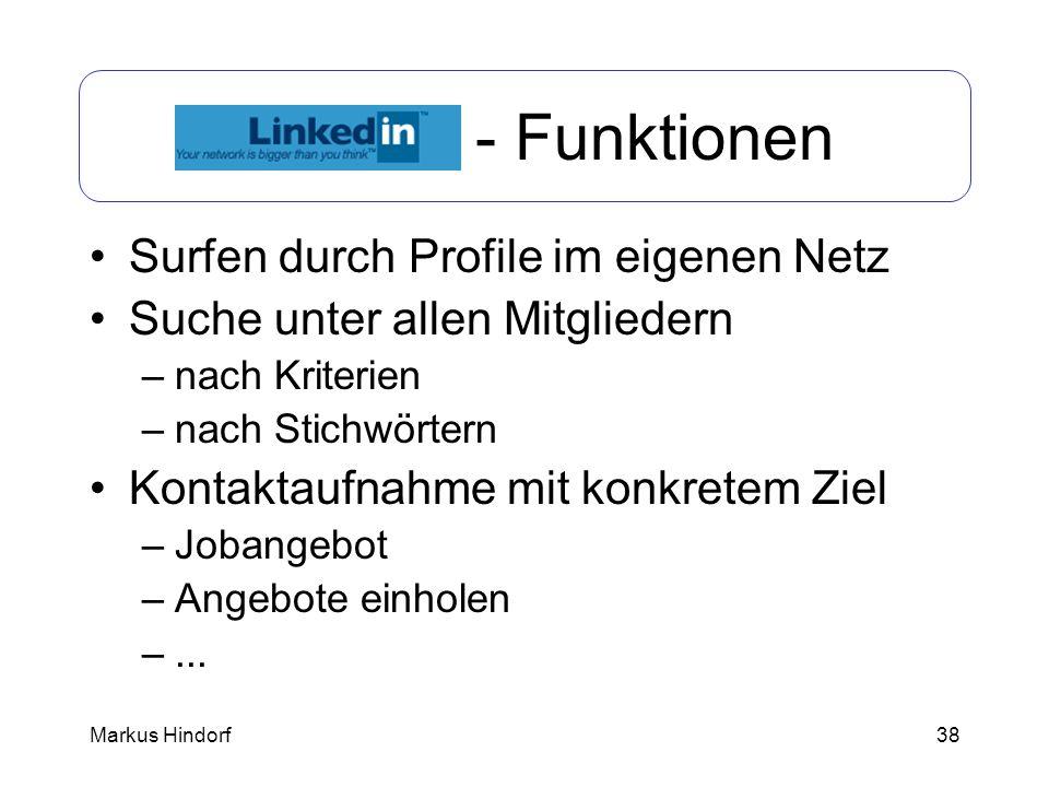 LinkedIn - Funktionen Surfen durch Profile im eigenen Netz
