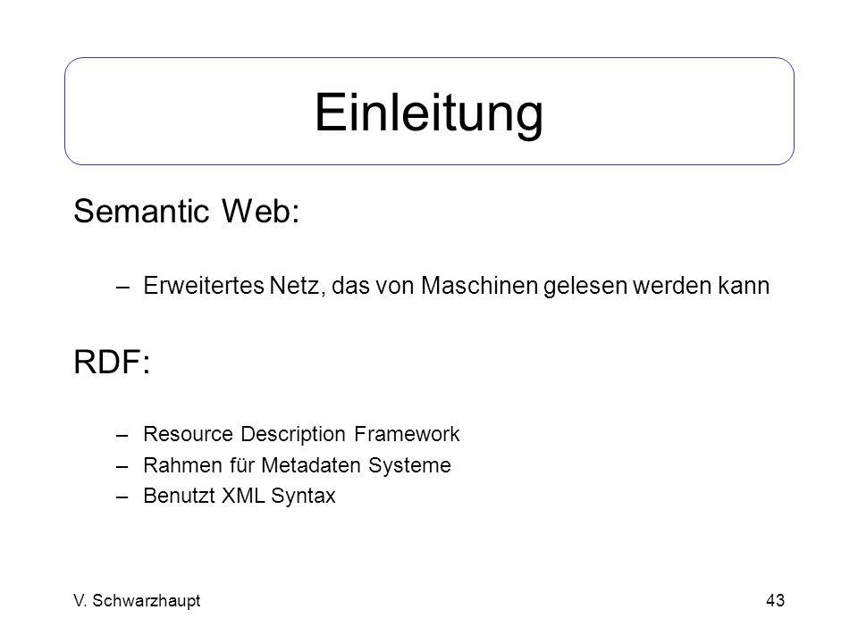 Einleitung Semantic Web: RDF: