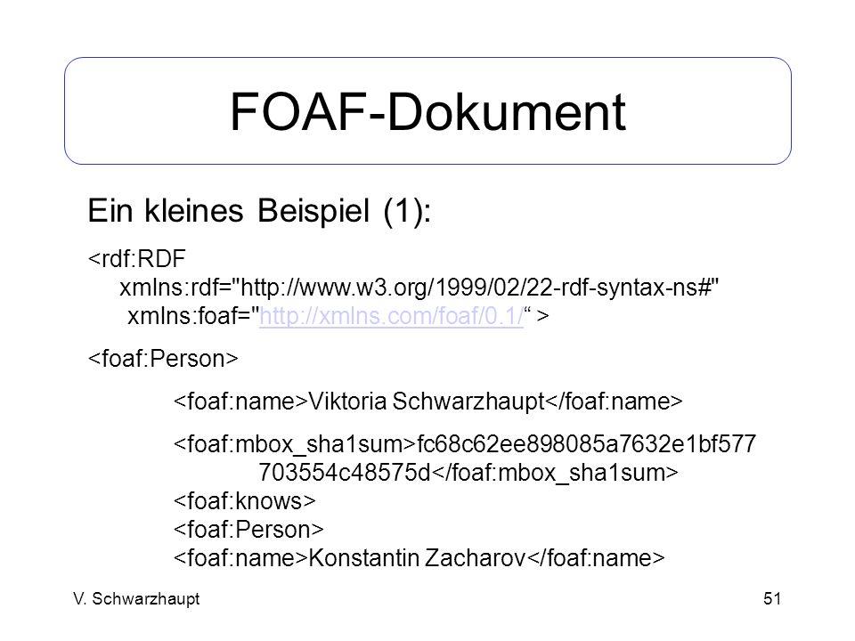 FOAF-Dokument Ein kleines Beispiel (1): <rdf:RDF