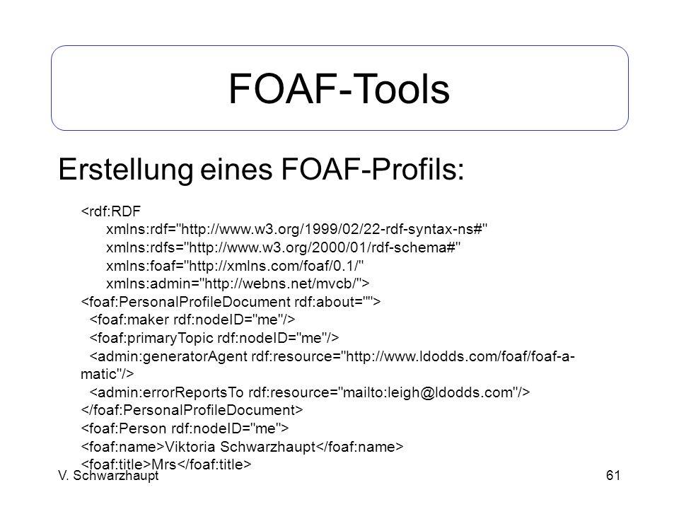 FOAF-Tools Erstellung eines FOAF-Profils: <rdf:RDF