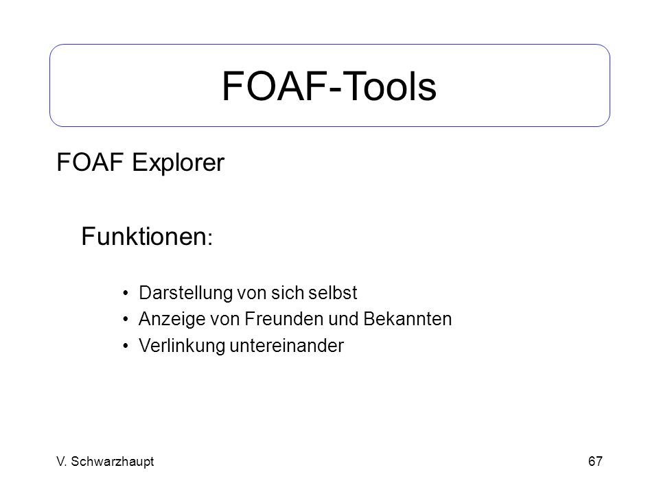 FOAF-Tools FOAF Explorer Funktionen: Darstellung von sich selbst