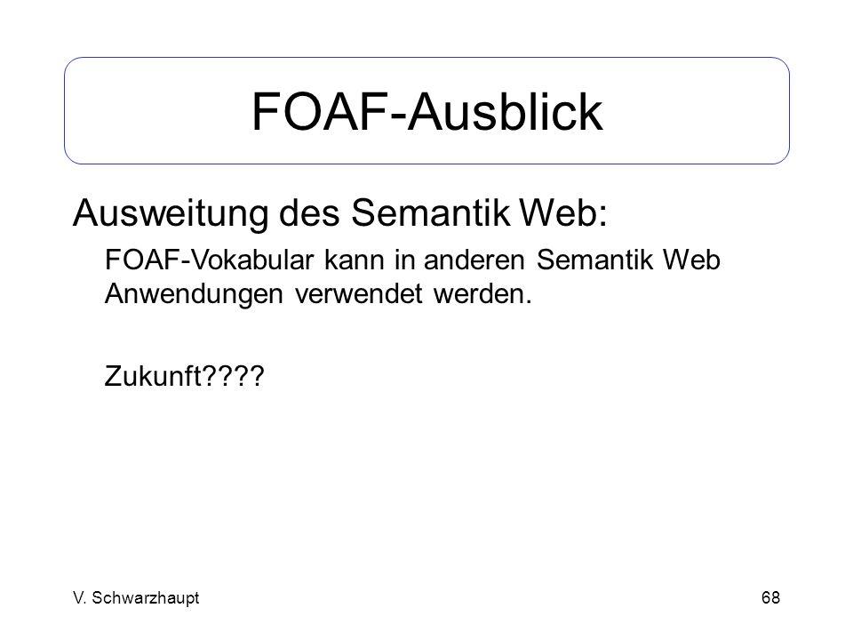 FOAF-Ausblick Ausweitung des Semantik Web: