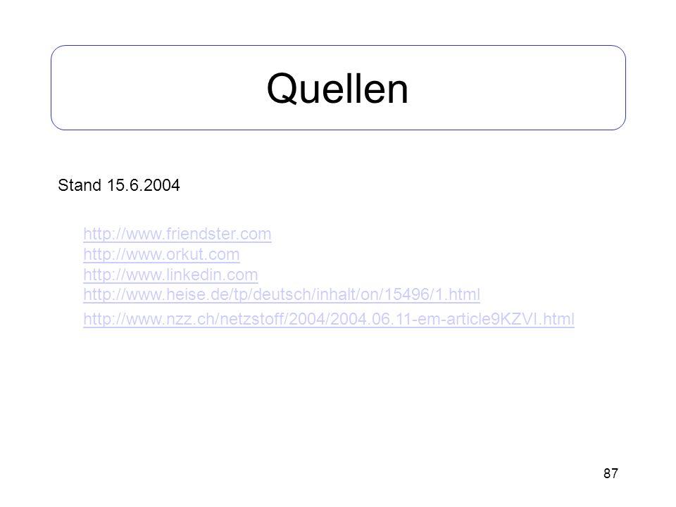Quellen Stand 15.6.2004.