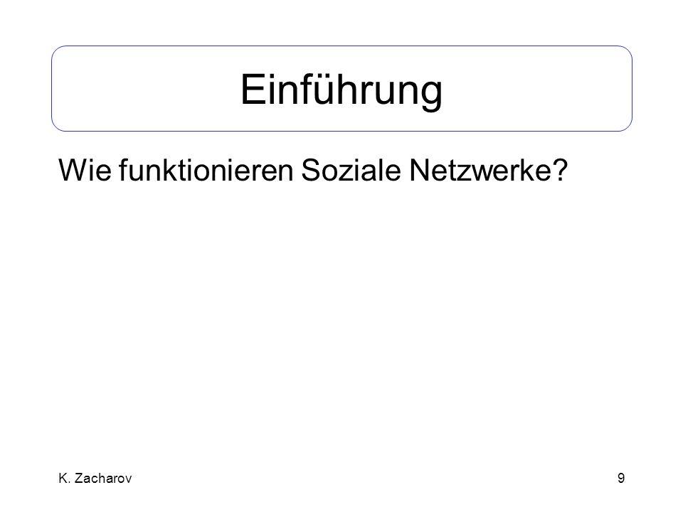 Einführung Wie funktionieren Soziale Netzwerke K. Zacharov