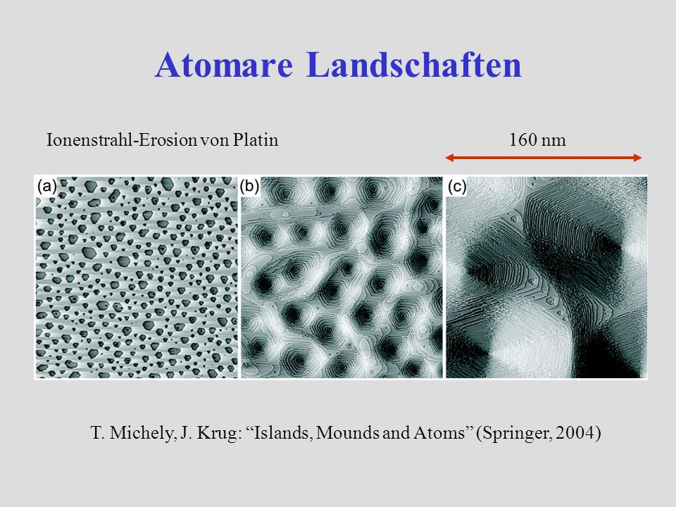 Atomare Landschaften Ionenstrahl-Erosion von Platin 160 nm