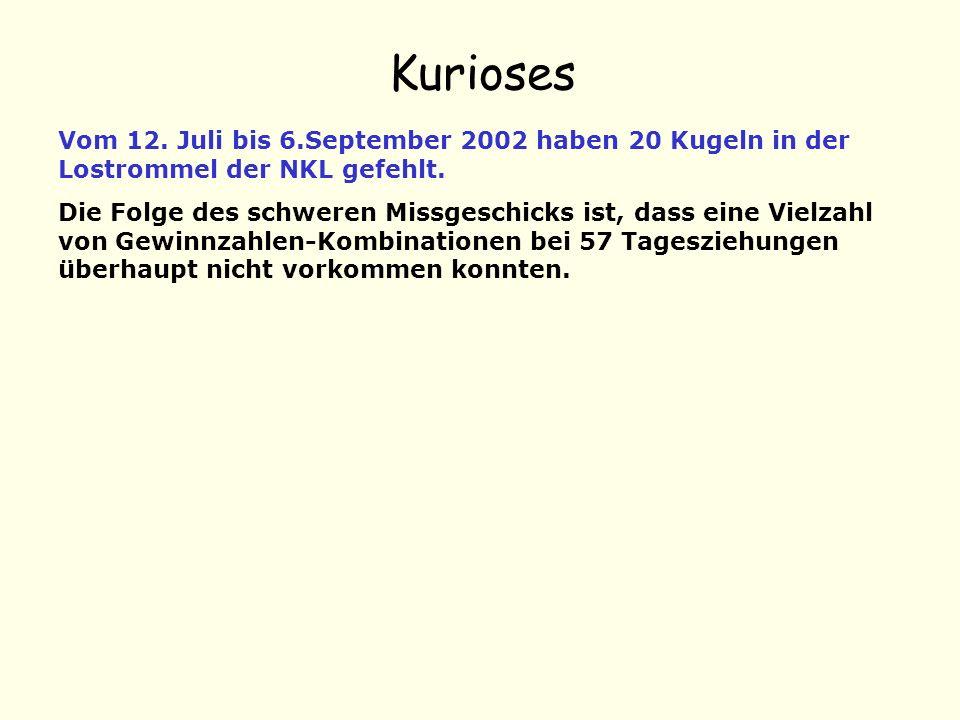 Kurioses Vom 12. Juli bis 6.September 2002 haben 20 Kugeln in der Lostrommel der NKL gefehlt.