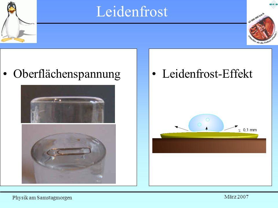 Leidenfrost Oberflächenspannung Leidenfrost-Effekt