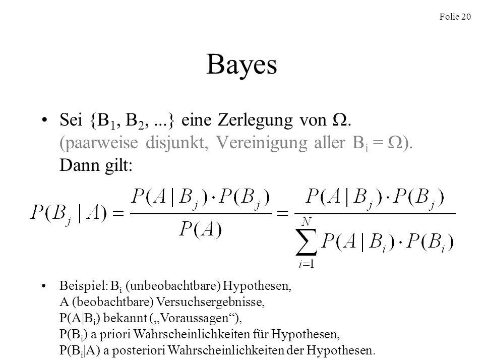BayesSei {B1, B2, ...} eine Zerlegung von . (paarweise disjunkt, Vereinigung aller Bi = ). Dann gilt: