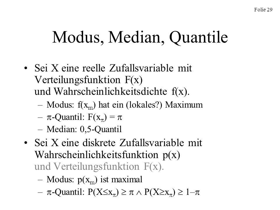Modus, Median, QuantileSei X eine reelle Zufallsvariable mit Verteilungsfunktion F(x) und Wahrscheinlichkeitsdichte f(x).