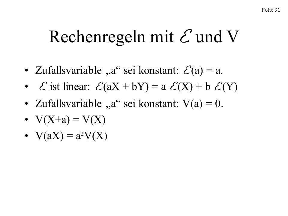 Rechenregeln mit E und V