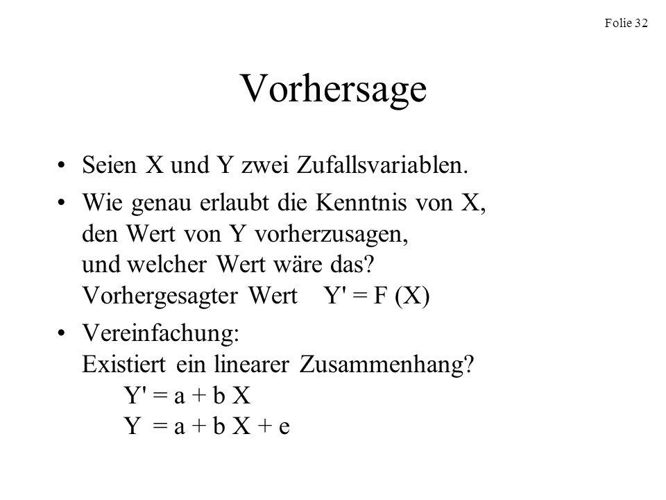 Vorhersage Seien X und Y zwei Zufallsvariablen.