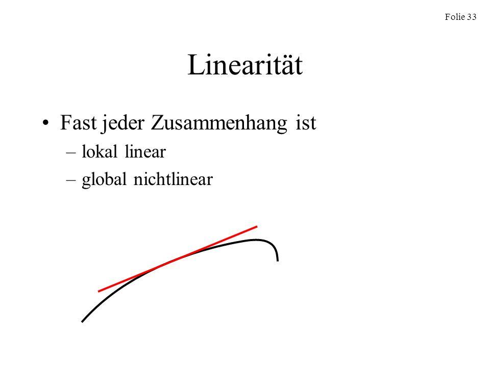 Linearität Fast jeder Zusammenhang ist lokal linear global nichtlinear