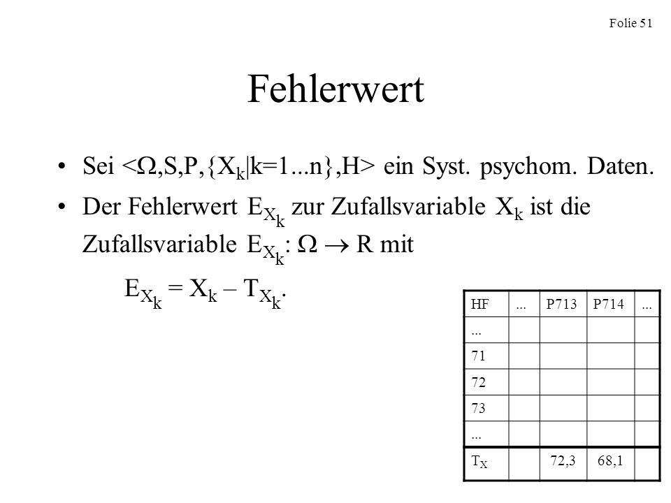 Fehlerwert Sei <,S,P,{Xk|k=1...n},H> ein Syst. psychom. Daten.