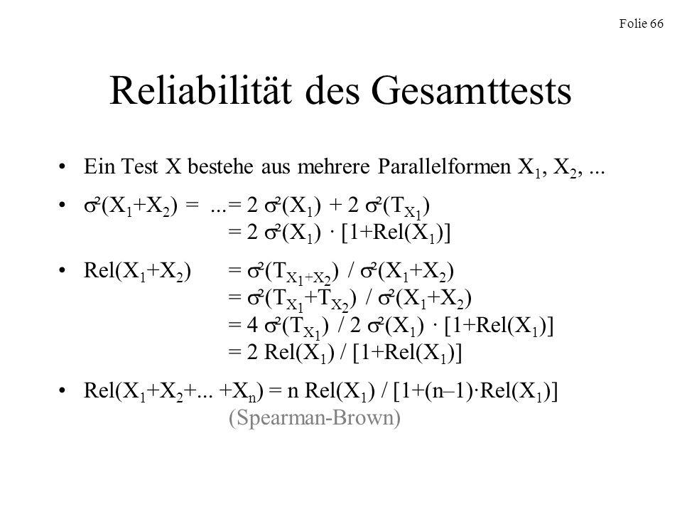 Reliabilität des Gesamttests