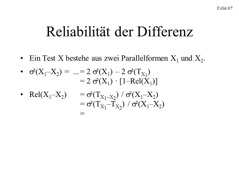 Reliabilität der Differenz