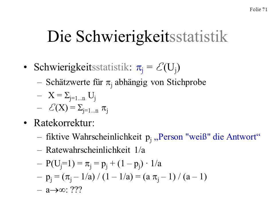 Die Schwierigkeitsstatistik