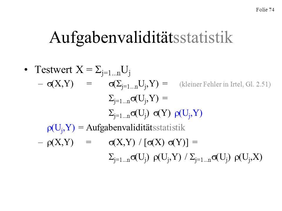 Aufgabenvaliditätsstatistik