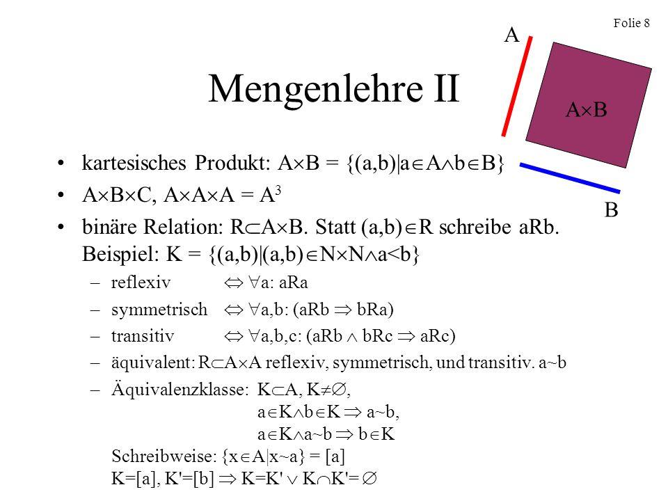 Mengenlehre II A AB kartesisches Produkt: AB = {(a,b)|aAbB}