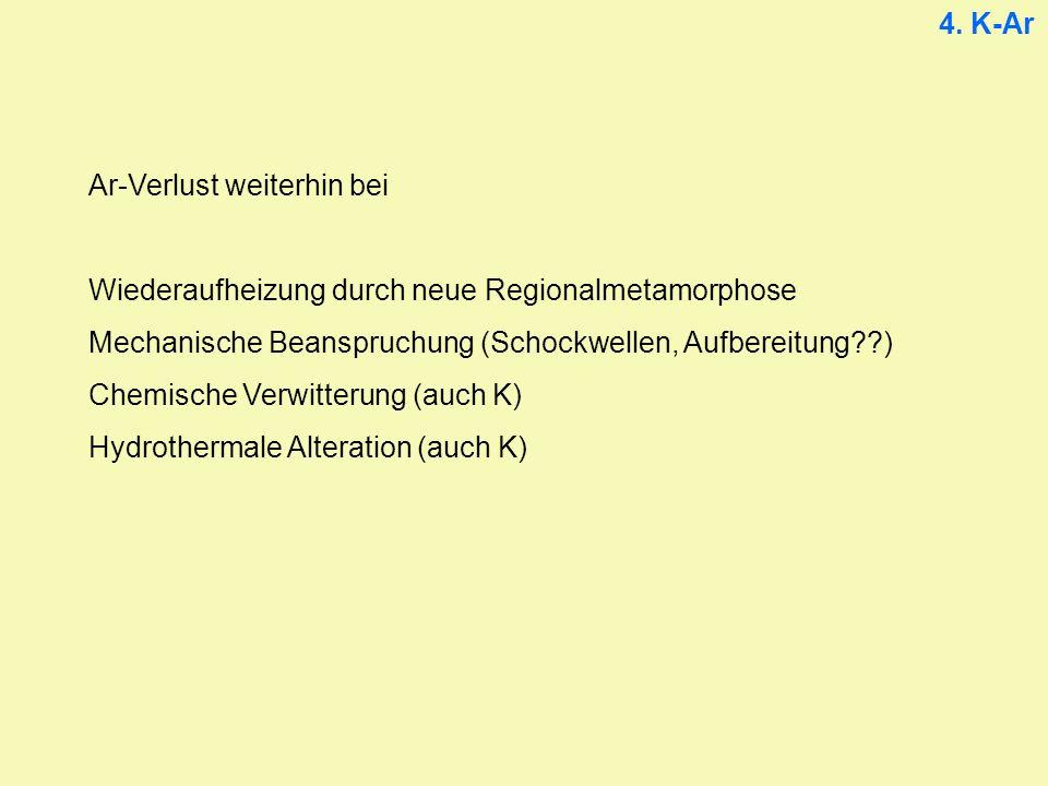 4. K-Ar Ar-Verlust weiterhin bei. Wiederaufheizung durch neue Regionalmetamorphose. Mechanische Beanspruchung (Schockwellen, Aufbereitung )