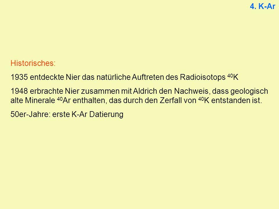4. K-Ar Historisches: 1935 entdeckte Nier das natürliche Auftreten des Radioisotops 40K.