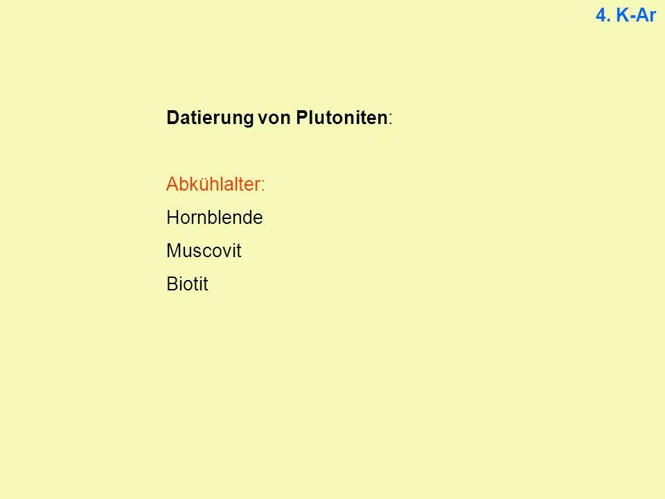 4. K-Ar Datierung von Plutoniten: Abkühlalter: Hornblende Muscovit Biotit