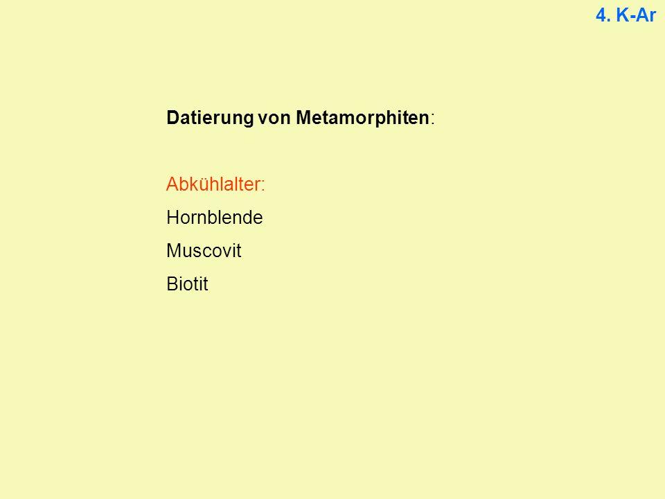 4. K-Ar Datierung von Metamorphiten: Abkühlalter: Hornblende Muscovit Biotit