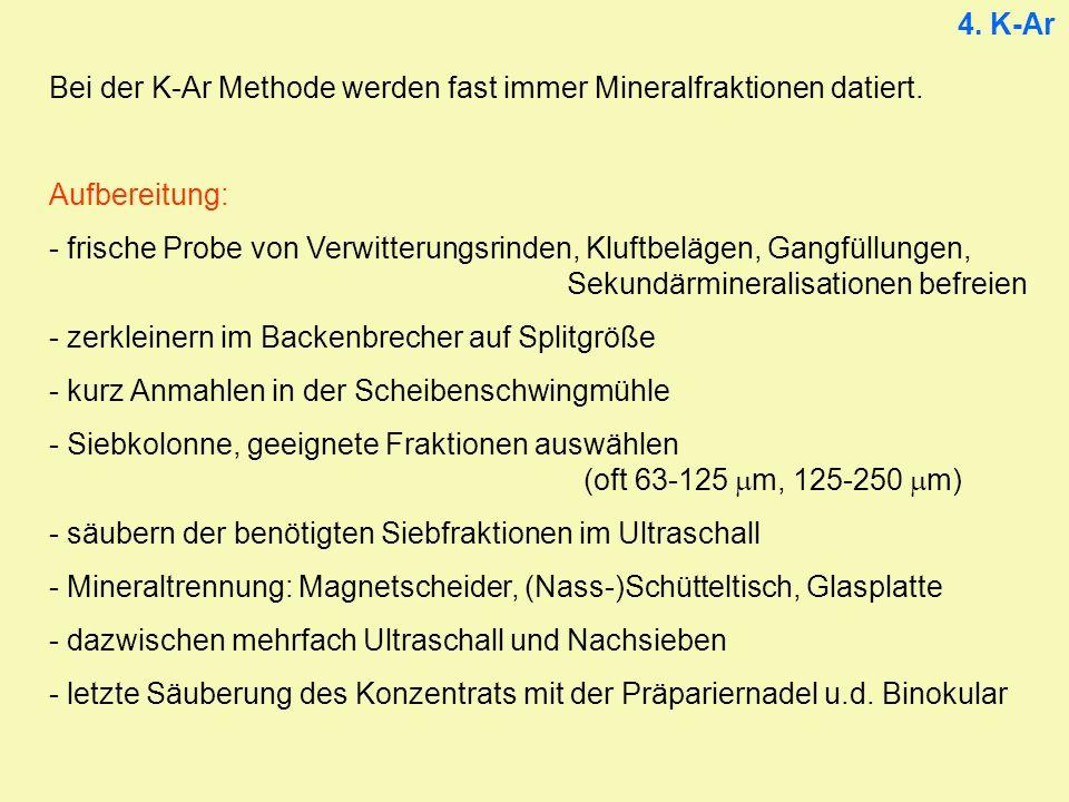 4. K-Ar Bei der K-Ar Methode werden fast immer Mineralfraktionen datiert. Aufbereitung: