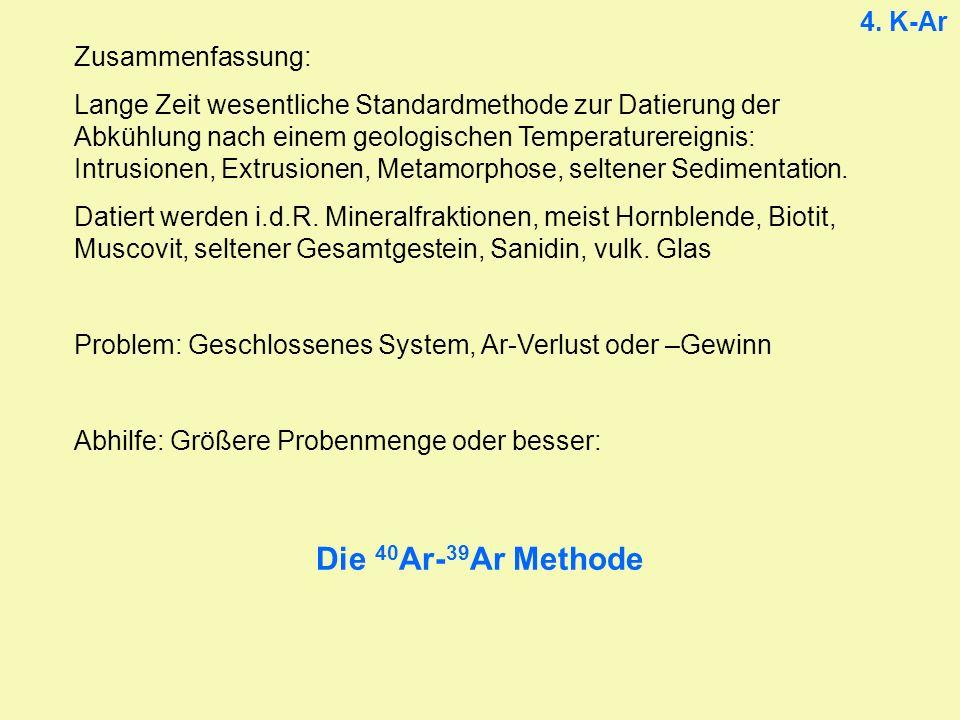 Die 40Ar-39Ar Methode 4. K-Ar Zusammenfassung:
