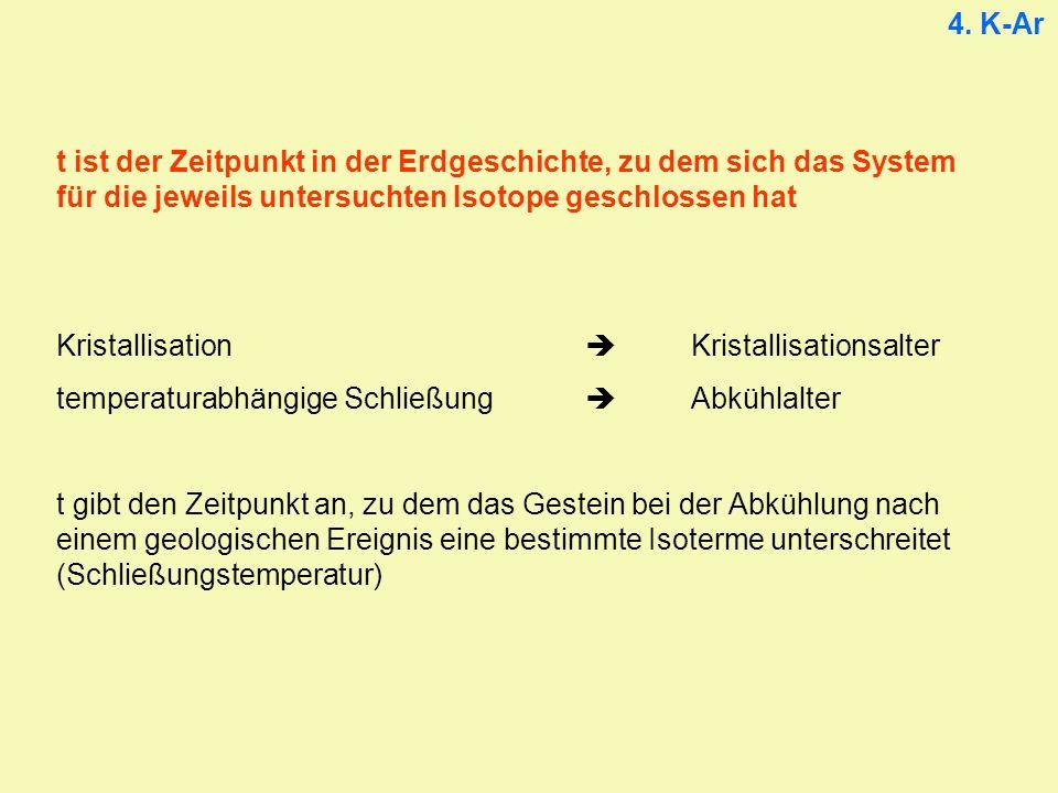 4. K-Ar t ist der Zeitpunkt in der Erdgeschichte, zu dem sich das System für die jeweils untersuchten Isotope geschlossen hat.