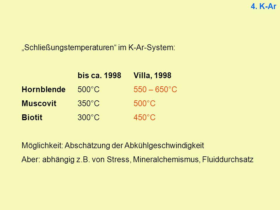 """4. K-Ar """"Schließungstemperaturen im K-Ar-System: bis ca. 1998 Villa, 1998. Hornblende 500°C 550 – 650°C."""