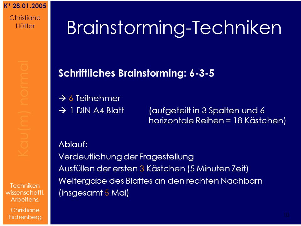 Brainstorming-Techniken