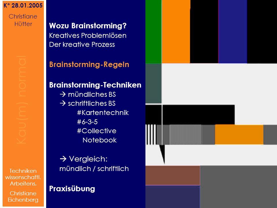 Brainstorming-Regeln Brainstorming-Techniken