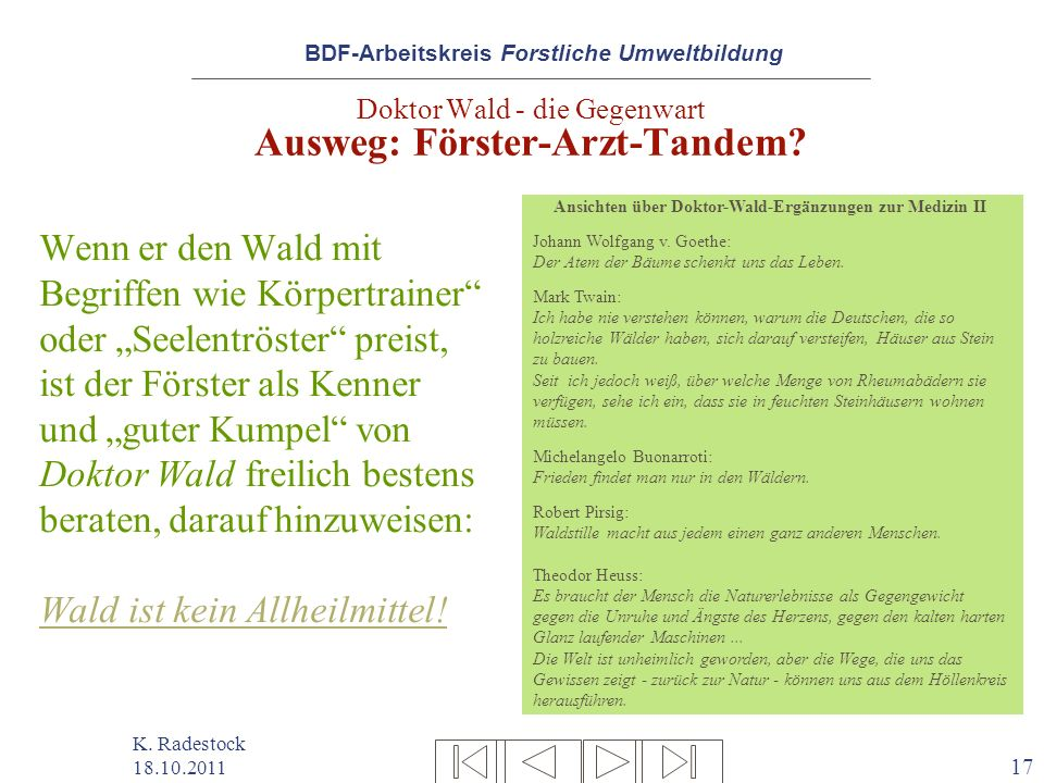 Doktor Wald - die Gegenwart Ausweg: Förster-Arzt-Tandem