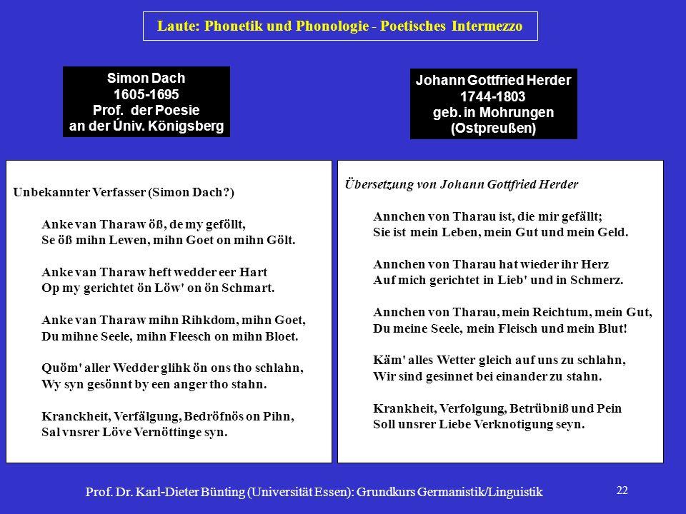 Laute: Phonetik und Phonologie - Poetisches Intermezzo