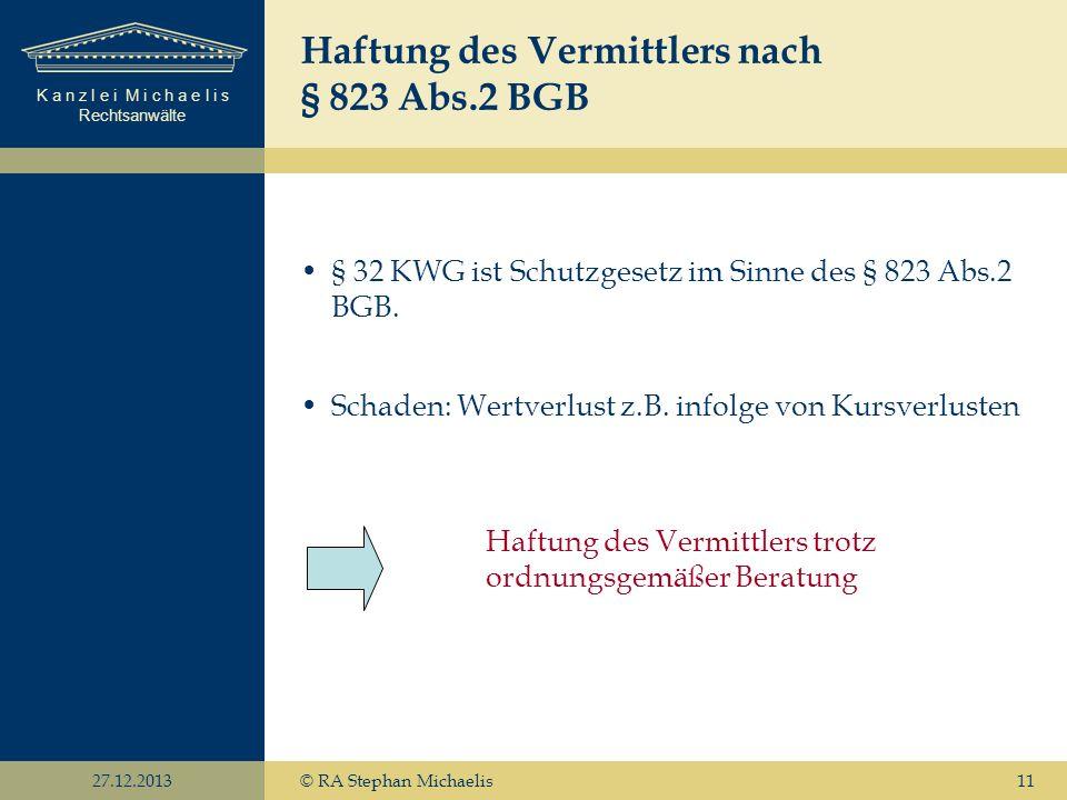 Haftung des Vermittlers nach § 823 Abs.2 BGB