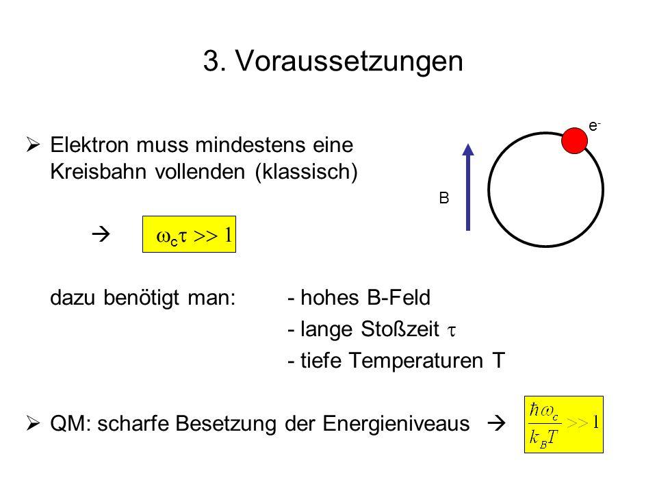 3. Voraussetzungen e- Elektron muss mindestens eine Kreisbahn vollenden (klassisch)